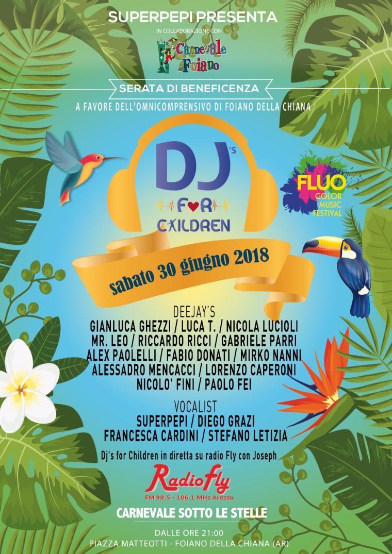 Sabato 30 giugno 2018, torna Deejay's for Children a Foiano della Chiana (Ar), in diretta su Radiofly